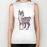 llama Biker Tanks featuring Llama by Suzanne Annaars