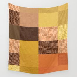 Fall Mustard Orange Golden Brown Checkered Gingham Patchwork Color Wall Tapestry