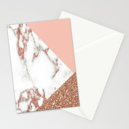 Marble - pink and gold Stationery Cards