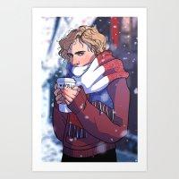 enjolras Art Prints featuring Winter Enjolras by rdjpwns