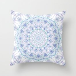 Purple, Blue, and Green Pastel Mandala Throw Pillow