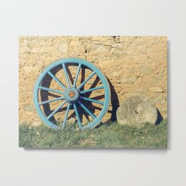 Antique Wagon Wheel and Mill Stone - French Farmhouse and Country Decor  Metal Print