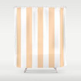 Light orange pink -  solid color - white vertical lines pattern Shower Curtain