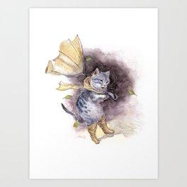 Cat in Rain Boots Art Print