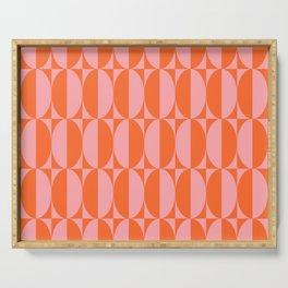 Mid Century Modern Geometric Half Oval Pattern 258 Orange and Pink Serving Tray