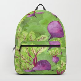 Beets on Green Background Watercolor Backpack
