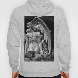 Kiss of Death, grave headstone winged angel of death marble sculpture and man Barcelona, Spain  Hoody