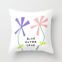 Flower Kindness Minimalist Illustration Give Extra Love Throw Pillow