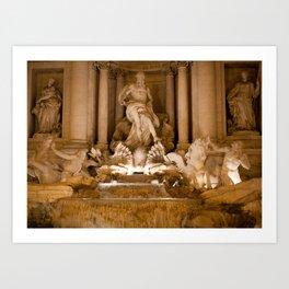 Trevi Fountain At Night Art Print