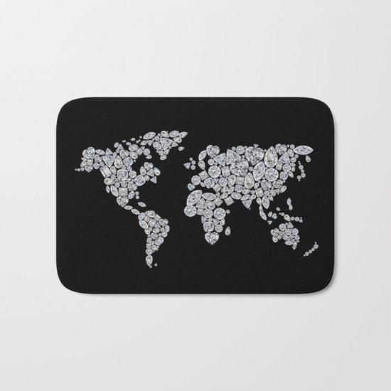 Diamonds World Map #4 Bath Mat