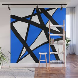 China Blue Geometric Triangle Abstract Inverse Wall Mural