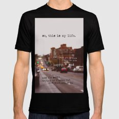 perks of being a wallflower - happy + sad MEDIUM Black Mens Fitted Tee
