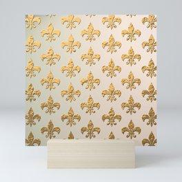 Gold Metallic Fleur De Lis Stencils Mini Art Print