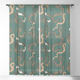 Plenty of Pythons - Emerald Sheer Curtain