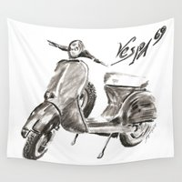 vespa Wall Tapestries featuring Vespa 69 by soetam