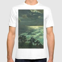 Midnight Moonlight, St Ives' Bay nautical coastal landscape painting by Julius Olsson T-shirt