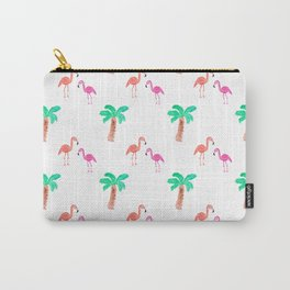 Watercolor Pink Flamingos and Palm Trees Pattern Carry-All Pouch