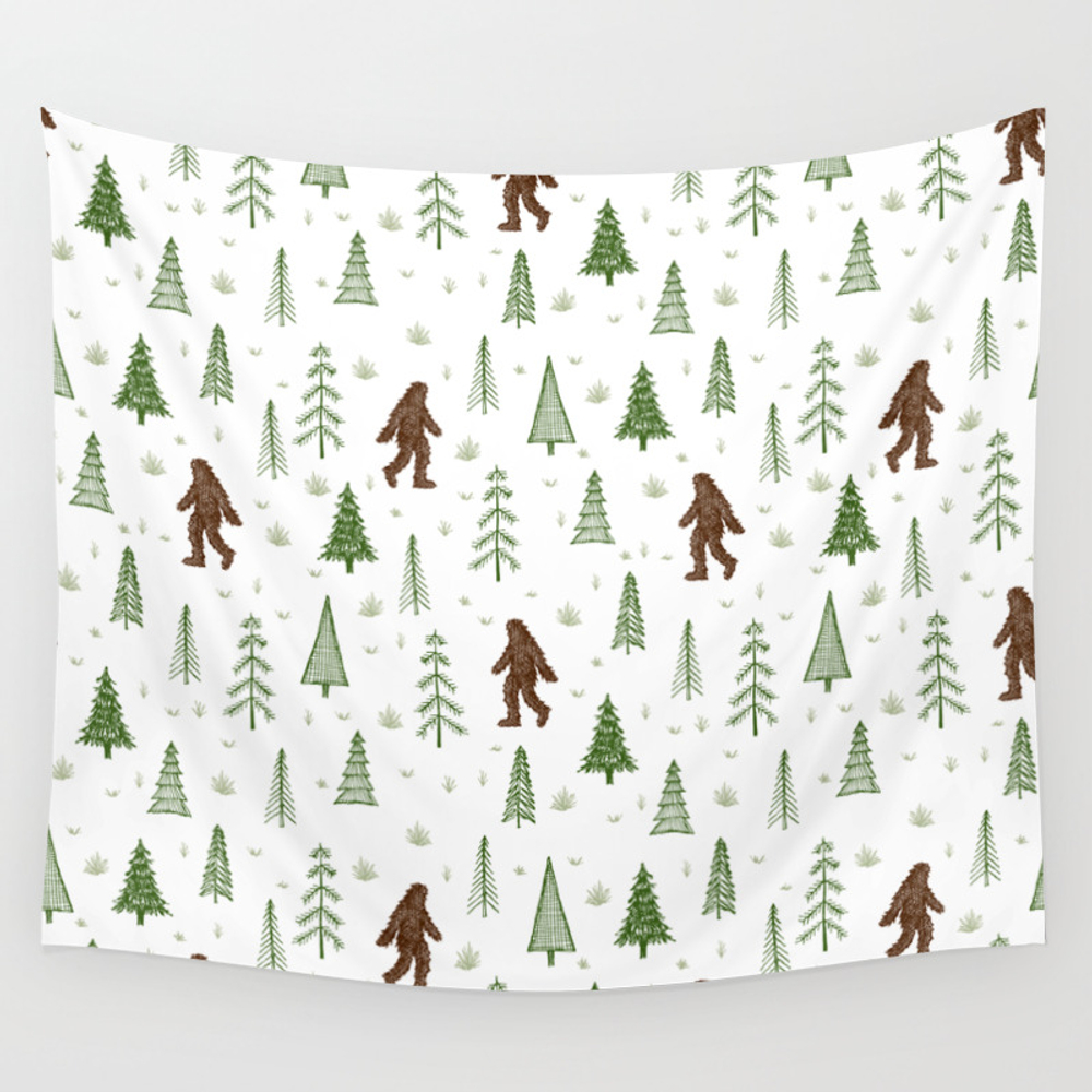 Trees + Yeti Pattern In Color Wall Tapestry by Staceywalkeroldham TPS8597777