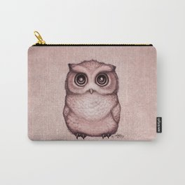 """The Little Owl"" by Amber Marine ~ (Peach Fuzz Version) Graphite&Ink Illustration, (Copyright 2016) Carry-All Pouch"