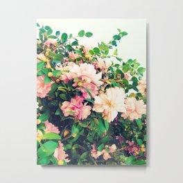 Romantic Nostalgic Pink Flowers Metal Print