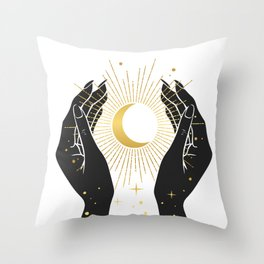 Gold La Lune In Hands Throw Pillow