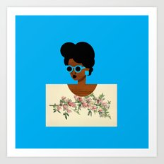Postcard Woman Blue Art Print