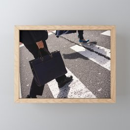 Group of businessmen and women walk along crosswalk in Shinjuku, Tokyo, Japan Framed Mini Art Print
