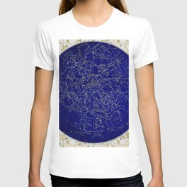 Constellation Stars blue space map on gold marble T-shirt