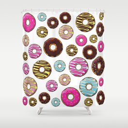 Donut Pattern, Colorful Donuts - Pink Blue Yellow Shower Curtain