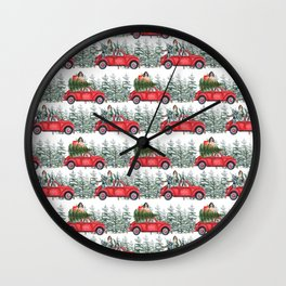 Cocker Spaniel in christmas car in winter forest Wall Clock