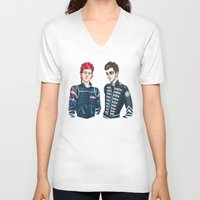 my chemical romance V-neck T-shirts featuring My Chemical Pilots by poweredbycokezero