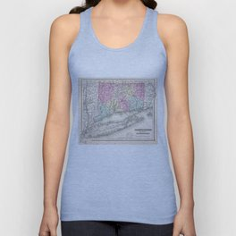 Vintage Map of Connecticut (1857) Unisex Tank Top