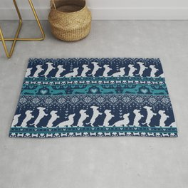 Fair Isle Knitting Doxie Love // navy blue background white and teal dachshunds dogs bones paws and hearts Rug