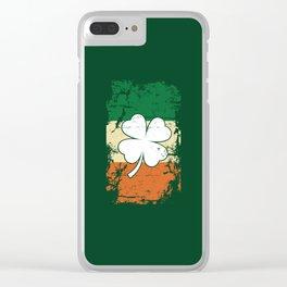 Distressed Irish Flag St Patrick Shamrock Green Clear iPhone Case