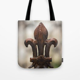 Fluer De Lis - Iron Fluer De Lis with Raindrops in New Orleans French Quarter Tote Bag