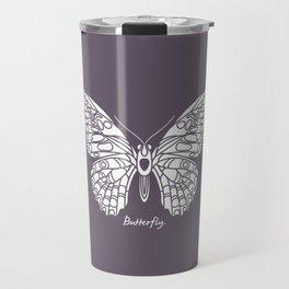 Butterfly White on Purple Background Travel Mug