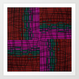 Red, Teal and Pink Vein Line Art on Black Art Print