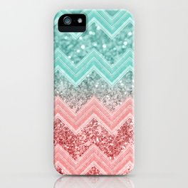Summer Vibes Glitter Chevron #1 #coral #mint #shiny #decor #art #society6 iPhone Case