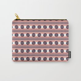 Hand drawn coral blue sketchy lines polka dot stripes Carry-All Pouch