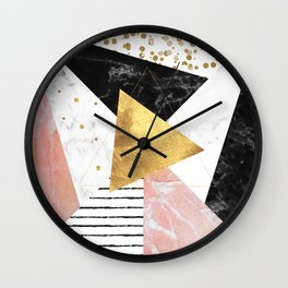 Elegant geometric marble and gold design Wall Clock