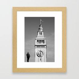 Ferry Building + USA Flag, San Francisco Framed Art Print