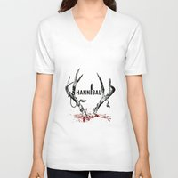 hannibal V-neck T-shirts featuring Hannibal  by lazergo