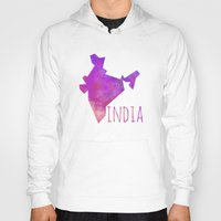 india Hoodies featuring India by Stephanie Wittenburg