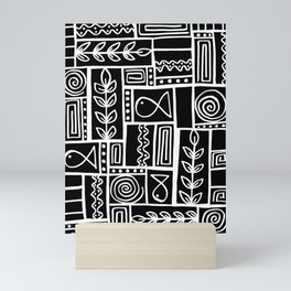 Fishes Seaweeds and Shells - Black Mini Art Print