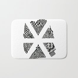 Asterisk, Black/White Abstract (ink drawing) Bath Mat