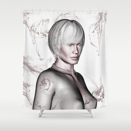 Portrait in Beige Shower Curtain