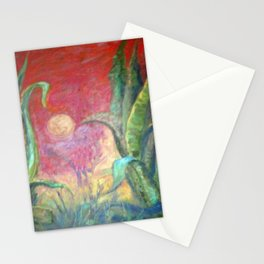 GREEN AGAVE DESERT CACTI & MOON PAINTING RED ART Stationery Cards