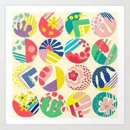 Abstract circle fun pattern Art Print