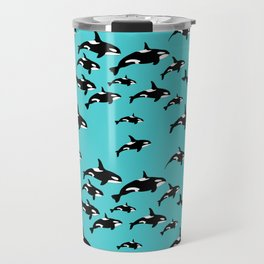 Orca Whale Pattern on Blue Travel Mug