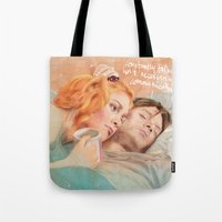 eternal sunshine of the spotless mind Tote Bags featuring Eternal Sunshine of the Spotless Mind by reviandana